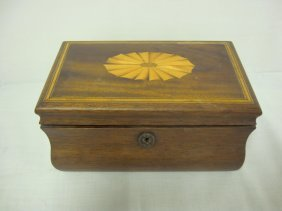 INLAID WOODEN BOX W/TRAY; 9 IN X 5 1/2 IN, 4 1/2