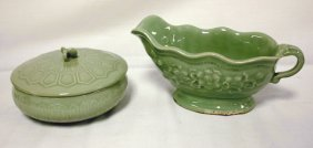 2 PC CELEDON LOT; SAUCE BOAT (8 1/2 IN LIP TO END