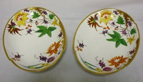 PR OF COLORFUL HAND PAINTED OVAL BOWLS; UNMARKED;