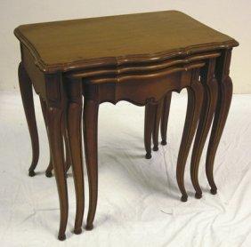 NEST OF 3 TABLES W/SCALLOPED, BEVELLED EDGES; LAR