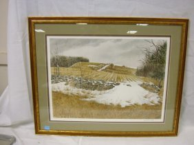 LITHO BY DAVID ARMSTRONG, COUNTRY LANDSCAPE W/STONE