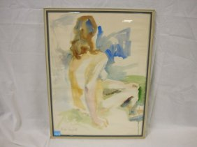 WATERCOLOR OF A NUDE BY VICKI DENFOLD; 17 IN X 23 I