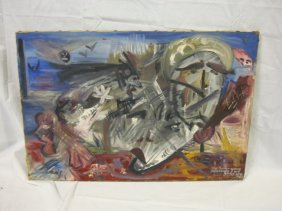 OIL ON CANVAS BY ROBERT WARSHAUSKY, 1959; W/INSCRIP
