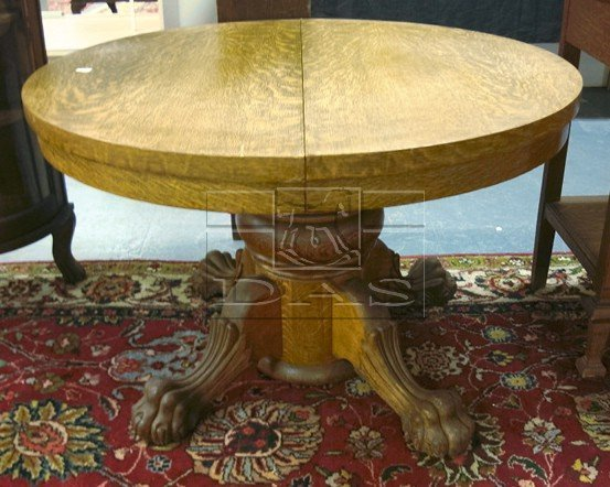 Claw foot round oak pedestal table lot