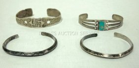 4 CUFF BRACELETS; 2 THIN, 2 WIDER (1 W/TURQUOISE)