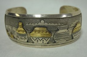 CUFF BRACELET W/INDIAN POT DECORATION MARKED RAY CA