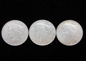 Lot Of 3 1922 Peace Silver Dollars