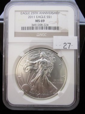 2011 American Silver Eagle, Ms69 Ngc