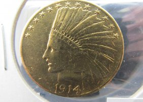 1914 Us $10 Gold Indian Coin
