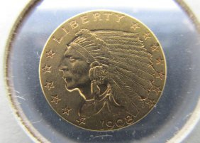 1908 Us $2 1/2 Gold Indian Coin