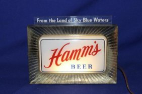Hamms Beer Counter Light Lighted Beer Sign, Works
