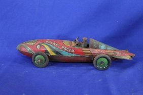 "Marx American Made Tin Wind Up Rocket Racer 16"" Long"