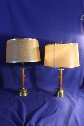 "2 Mid Century Table Lamps 24"" Tall"