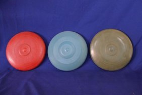 Lot Of 3 Speedy Wham-o Flying Saucer Frisbee, Olive