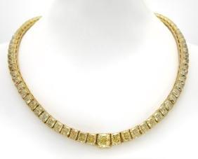 Fancy Intense Yellow Diamond Necklace
