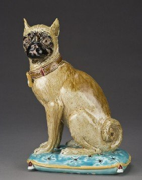 Joseph Holdcroft Majolica Figure Of A Pug