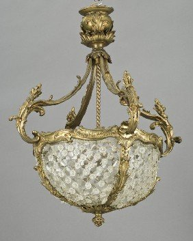French Belle Epoque Gilt Bronze Chandelier