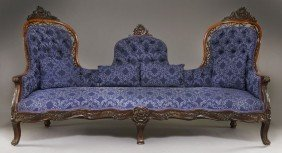 American Victorian Carved Rosewood Settee