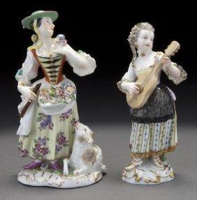 Pr. Meissen Porcelain Figures Of Ladies,