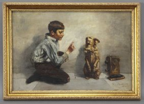 "John Henry Henrici, ""Shoeshine Boy With Dog"" Oil"