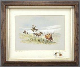 "Byron B. Wolfe, ""Broken Latigo"" Watercolor On"
