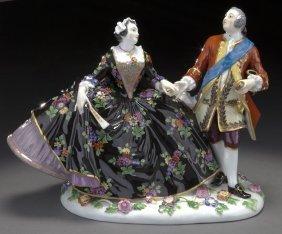 Meissen Porcelain Figural Group Of A Royal Couple,
