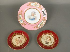 Sevres Style Portrait Plate With Pink G