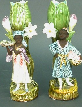 Pair Of Majolica Vases With Black Figur