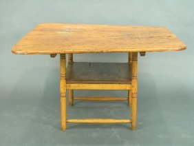 American Pine Chair Table With Turned S