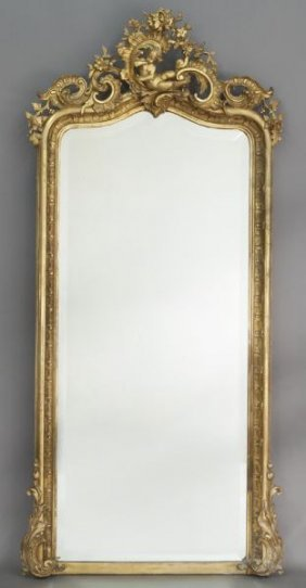 Louis Xv Style Carved Gilt Framed Wall Mirror,