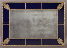 Gilt Framed Wall Mirror With Blue Glass Frame