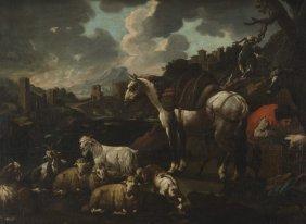 "Philipp Peter Roos, ""rosa Di Tivoli"" Oil On"