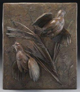 """Walter Matia, """"pine Spirits"""" Relief Bronze"""