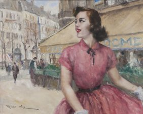 "Pál Fried, ""woman Walking Before Cafe"" Oil"