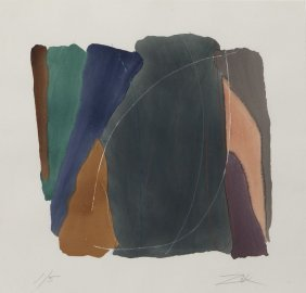 """Larry Zox """"untitled"""" Color Lithograph."""