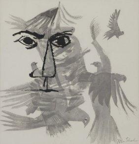 """Ben Shahn """"birds Over The City"""" Lithograph, 1968."""