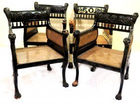 Set Of Four Lion Head Chairs