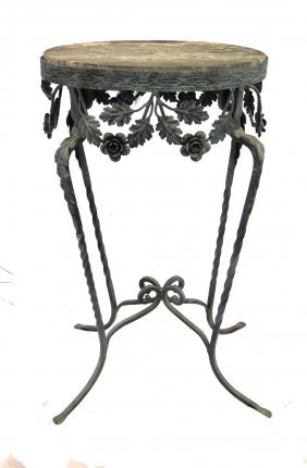Wrought Iron Marble Top Oval Stand