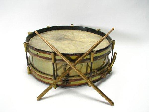 447 Antique Snare Drum With Drum Sticks Lot 447