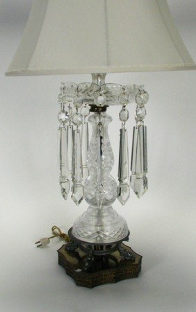 216 Vintage Crystal Table Lamp With Prisms Lot 216