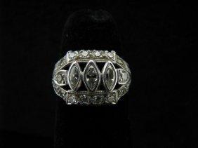Lady's Platinum Antique Style Diamond Ring