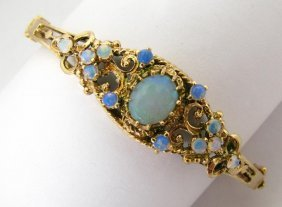 14K Yellow Gold Opal Hinged Bangle Bracelet