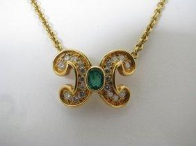 Lady's 18K YG Diamond & Emerald Necklace