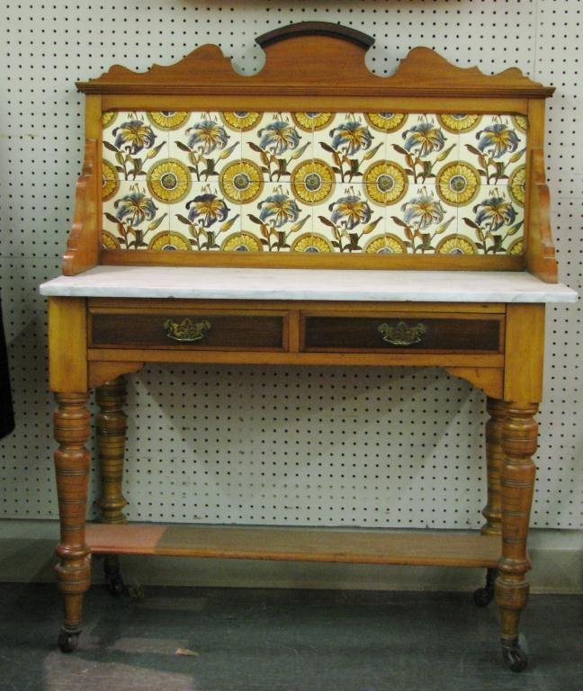 308 antique english washstand with tile backsplash lot 308