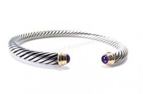 Yurman 14k And Sterling Amethyst Cuff Bracelet
