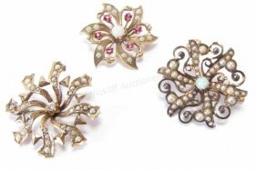 Three Antique Pin/brooches, Pearl