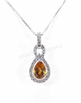14k White Gold Citrine And Diamond Pendant