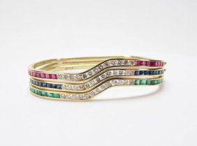 18k Diamond, Ruby, Sapphire, Emerald Bangle Set