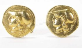 18k Yellow Gold Alexander The Great Cufflinks