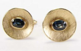14k Yellow Gold Faceted Sapphire Cuff Links